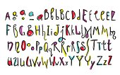 Doodle colorful kids alphabet