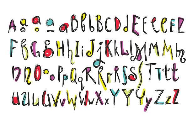 落書きカラフルなお子様のアルファベット - 落書きのフォント点のイラスト素材/クリップアート素材/マンガ素材/アイコン素材