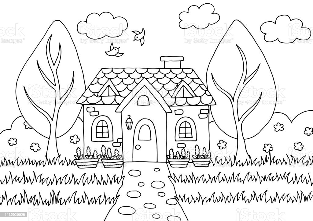 - Doodle Coloring Book With Fairy House Stock Illustration - Download Image  Now - IStock