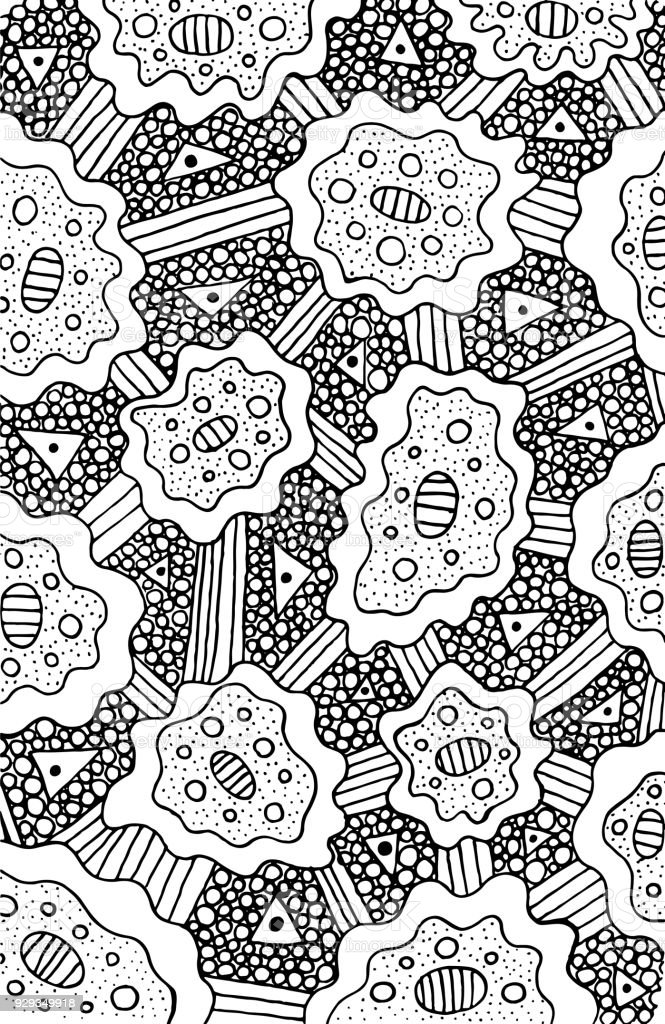 Doodle Coloring Page For Adults Background Psychedelic Surreal ...