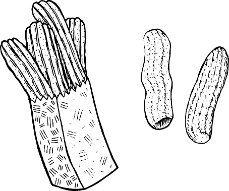 Doodle coloring page for adults with churros. Ink art with spanish food. Vector illustration.