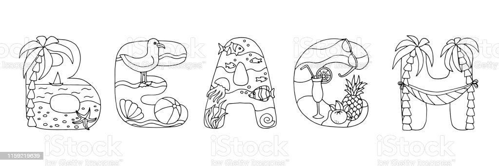 Doodle Coloring Page Word Beach Stock Illustration ...