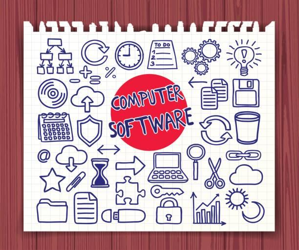stockillustraties, clipart, cartoons en iconen met doodle computer software instellen - netherlands map