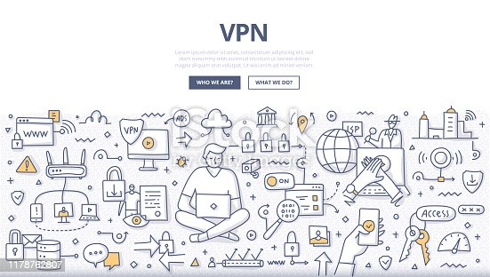 VPN technology concept. Virtual private network. Anonymous and safe internet using with encrypted connection. Doodle illustration for web banners, hero images, printed materials