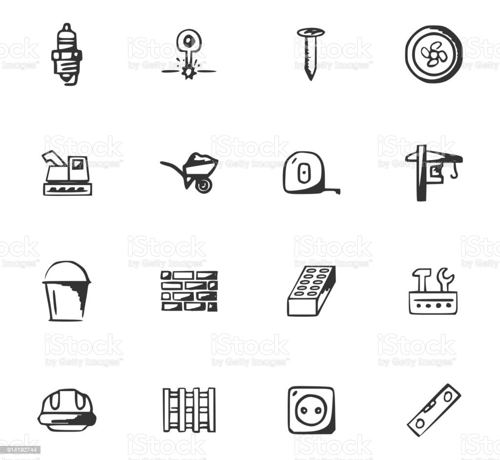 Doodle Construction and repair icons set vector art illustration