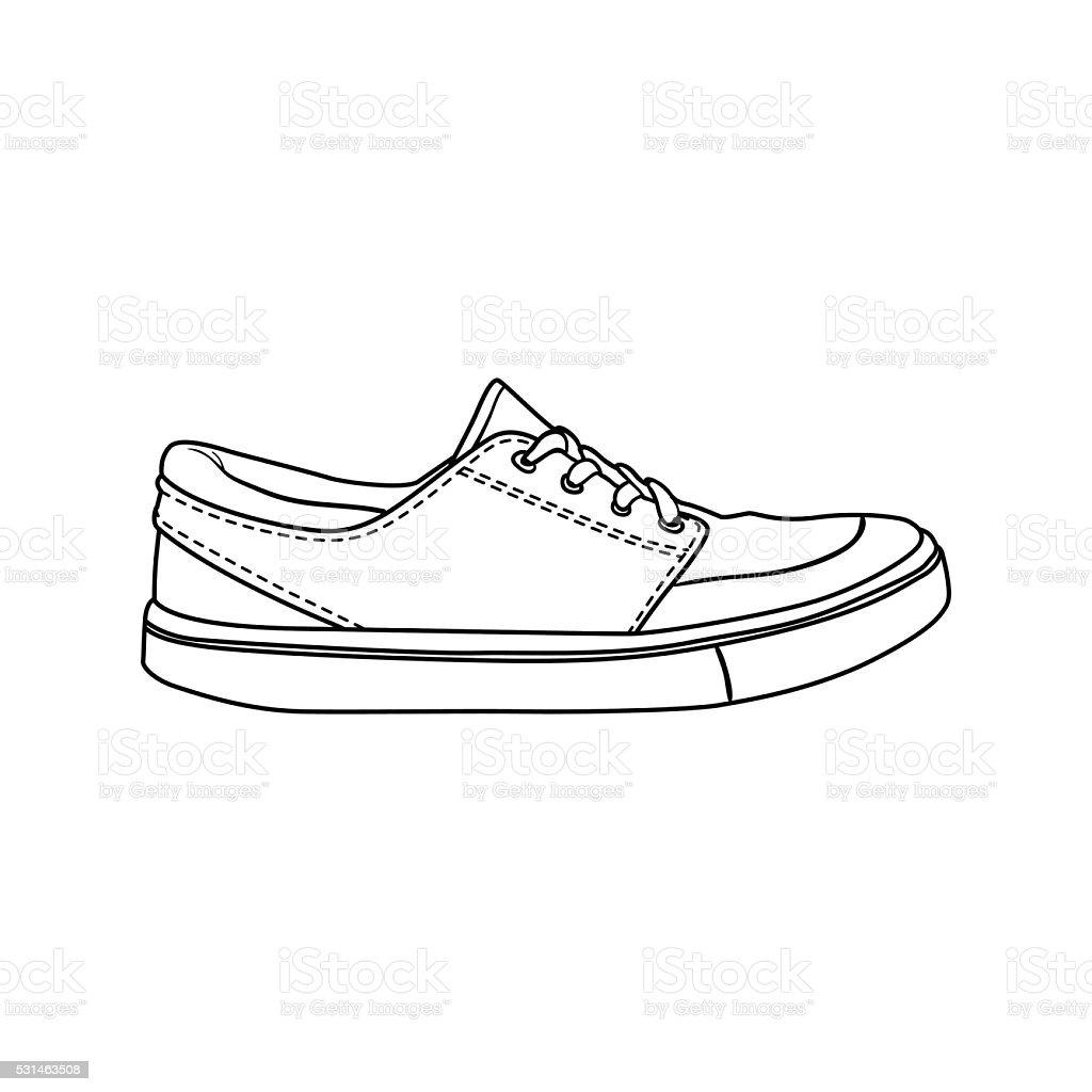 Blanc Doodle De Chaussures Seul Dessin Animé Basket 8nvmwon0 Contour Sur QrxtsdCBh