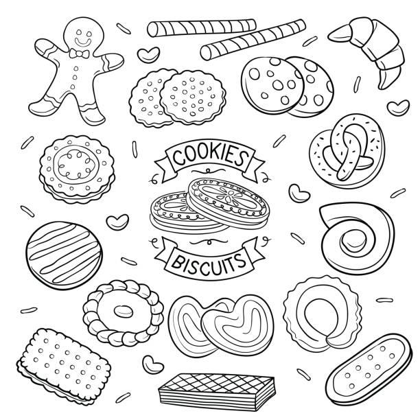 Doodle cookies and Biscuits vector art illustration