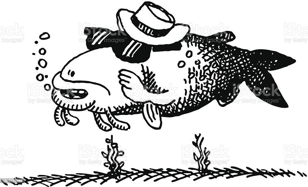 Doodle Cool Catfish vector art illustration