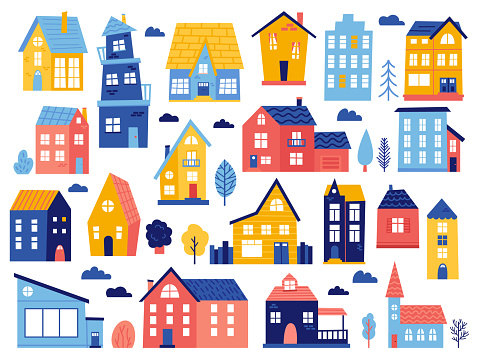 Doodle cottages. Cute tiny town houses, minimal suburban houses, residential town buildings isolated vector illustration icons set
