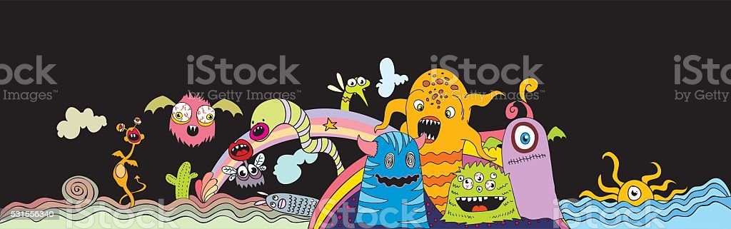 doodle creatures vector art illustration