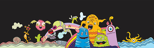 doodle creatures - graffiti backgrounds stock illustrations, clip art, cartoons, & icons