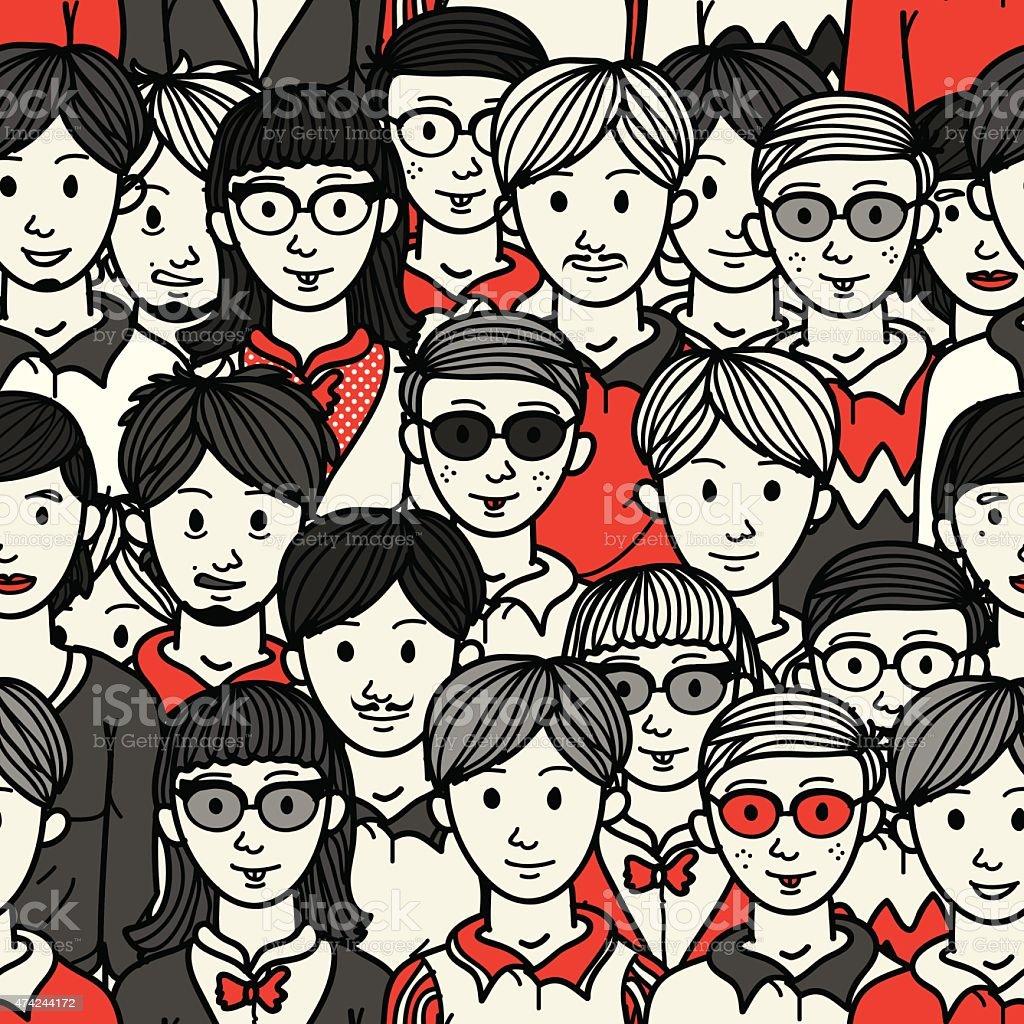 Doodle crowd geek teenager seamless pattern vector art illustration