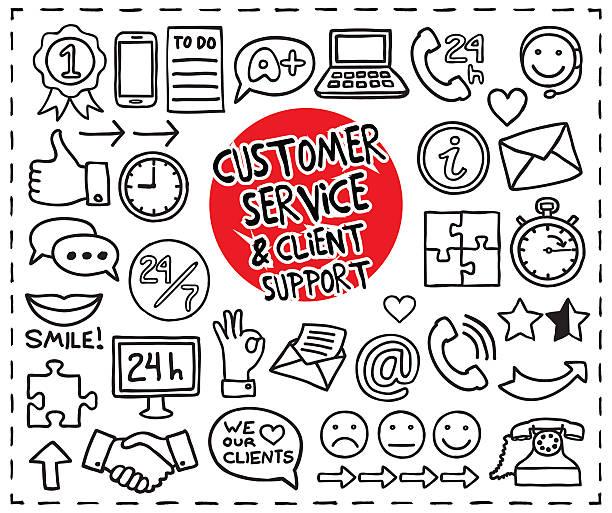 gekritzel kunden service-symbole - hausgemacht stock-grafiken, -clipart, -cartoons und -symbole