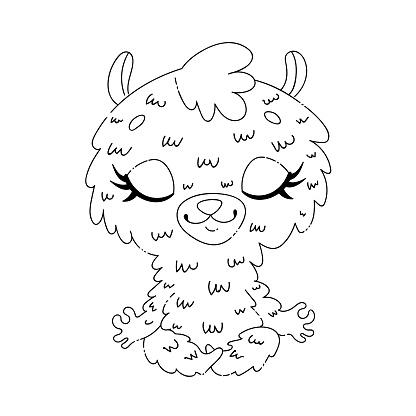Doodle cute cartoon llama meditation. Yoga animals coloring page