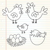 Doodle cute chicken family design