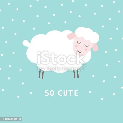 istock Doodle cute sheep. Adorable little lamb character. Simple vector illustration. 1186044510