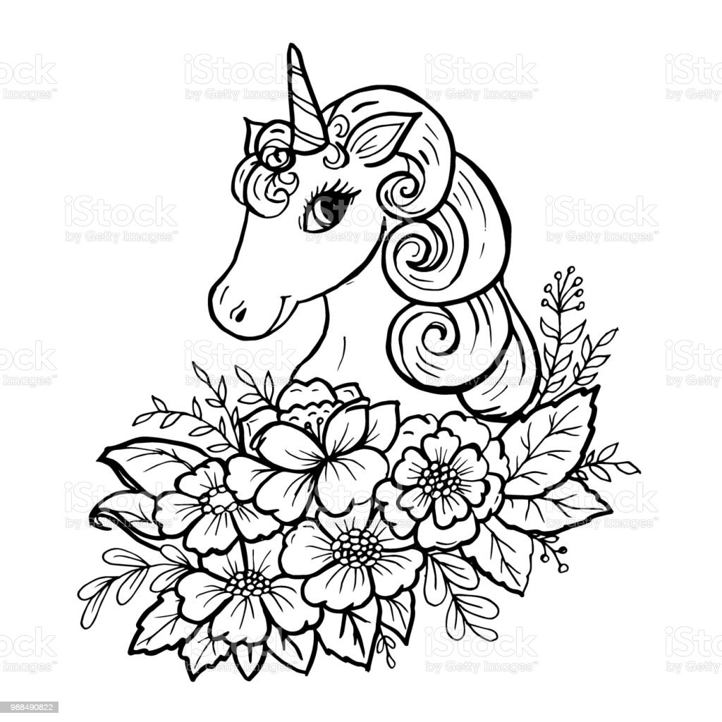 Doodle Cute Unicorn Head Royalty Free Stock Vector Art Amp