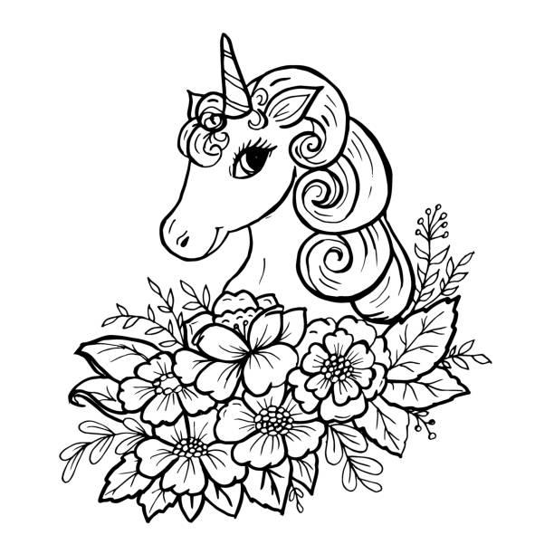 낙서 귀여운 유니콘 헤드 - 색칠하기 stock illustrations