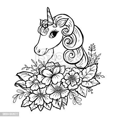 Doodle Cute Unicorn Head Stock