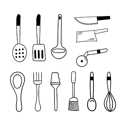Doodle cutlery set. Items for the kitchen and cooking. Spoon, fork, spatula, whisk and more. Hand vector illustration.