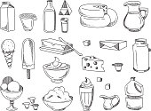 Doodle dairy and milk products. Vector hand drawn icons. Set of dairy product for breakfast, illustration of dairy food fresh