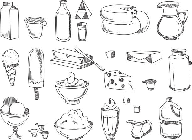 Doodle dairy and milk products. Vector hand drawn icons vector art illustration