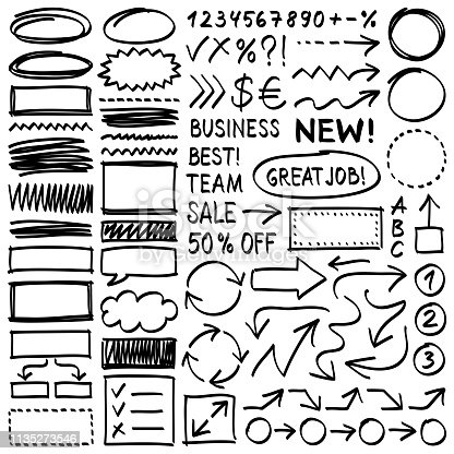Hand drawn design elements. Vector frames and arrows. Doodle illustration.