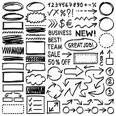 Hand drawn design elements. Vector frames and arrows. Doodle illustration.