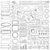 Hand drawn design elements. Vector frames, arrows and symbols. Doodle illustration.