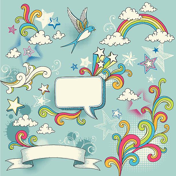 doodle design elements - doodles stock illustrations, clip art, cartoons, & icons