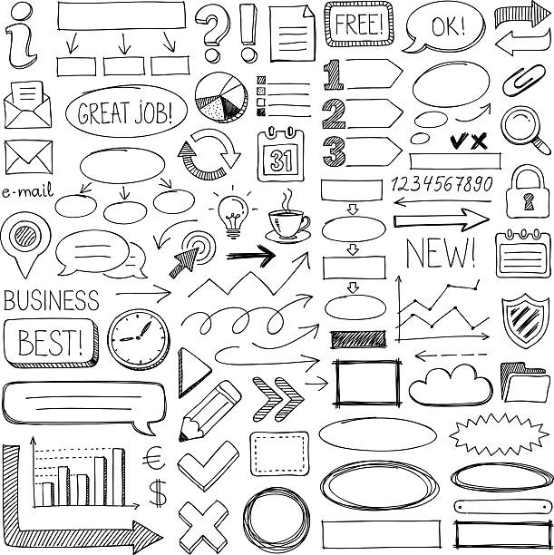 doodle design elements - doodles and hand drawn frames stock illustrations, clip art, cartoons, & icons