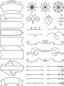 A collection of doodle design elements
