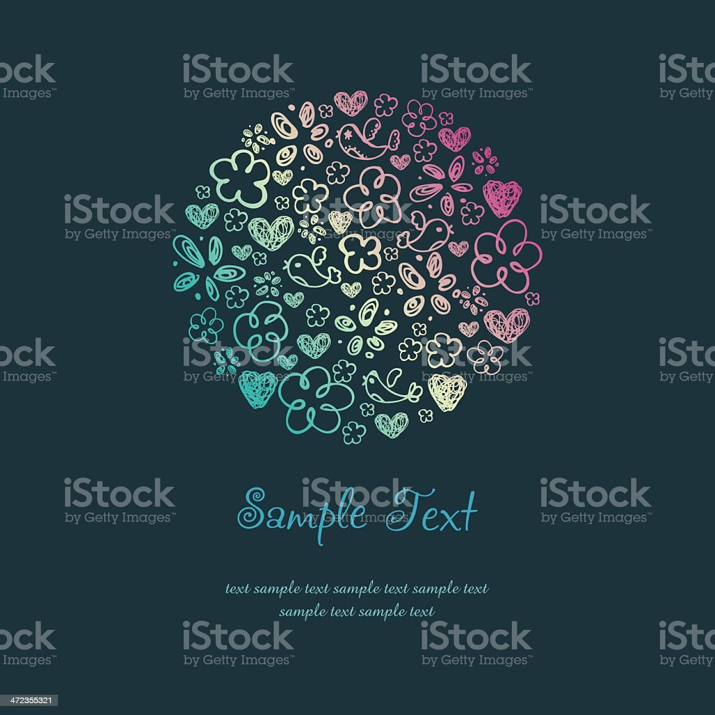 Doodle Design Template with illustration of birds, hearts and flowers vector art illustration