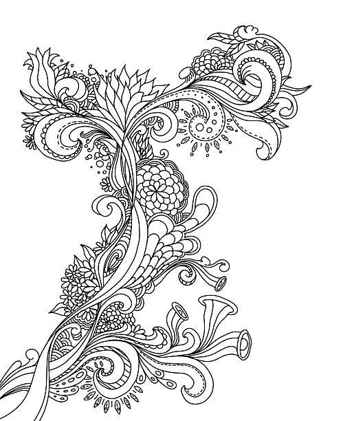 stockillustraties, clipart, cartoons en iconen met doodle design - hennatatoeage