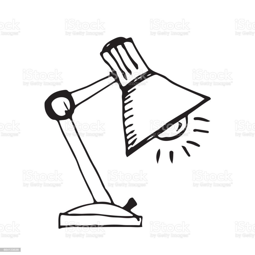 Doodle Desk Lamp Icon Hand Draw Illustration Design Royalty Free Doodle  Desk Lamp Icon Hand