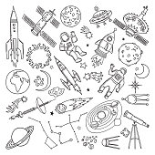 Doodle different universe elements. Planets, sun, earth and moon. Vector hand drawn illustrations