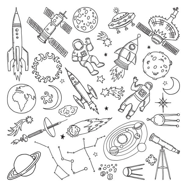 Doodle different universe elements. Planets, sun, earth and moon. Vector hand drawn illustrations vector art illustration