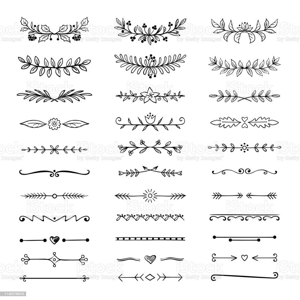 Doodle verdelers. Hand getrokken lijn grenzen en lauweren, sier decoratieve frame, natuur bloemen pijl schets. Vector Divider - Royalty-free Blad vectorkunst