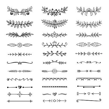 Doodle dividers. Hand drawn line borders and laurels, ornamental decorative frame, nature floral arrow sketch. Vector divider