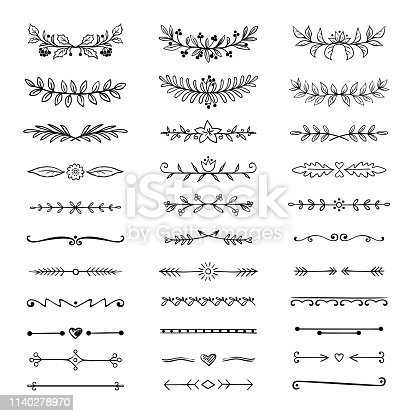 Doodle dividers. Hand drawn line borders and laurels, ornamental decorative frame, nature floral arrow sketch. Vector divider set