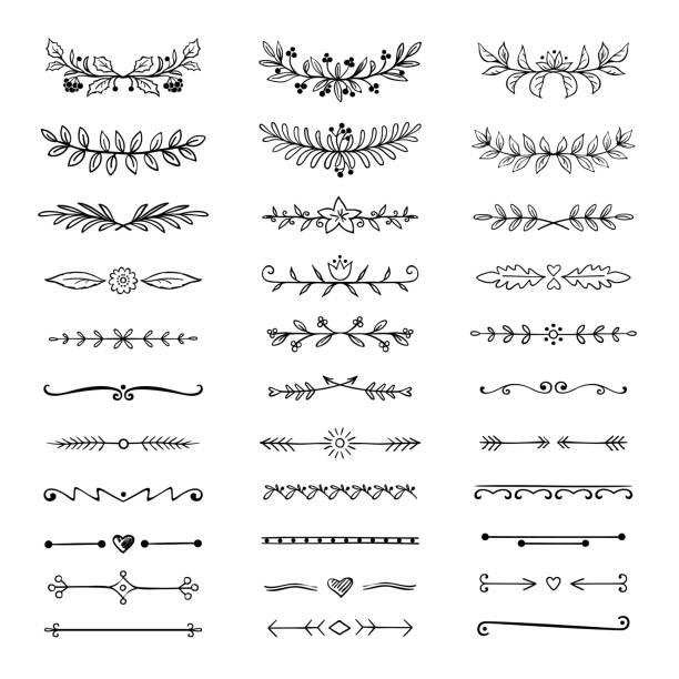stockillustraties, clipart, cartoons en iconen met doodle verdelers. hand getrokken lijn grenzen en lauweren, sier decoratieve frame, natuur bloemen pijl schets. vector divider - decor