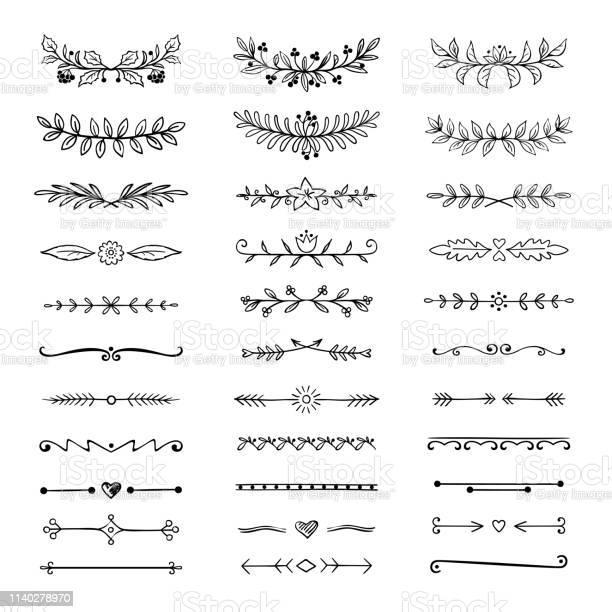 Doodle Verdelers Hand Getrokken Lijn Grenzen En Lauweren Sier Decoratieve Frame Natuur Bloemen Pijl Schets Vector Divider Stockvectorkunst en meer beelden van Blad