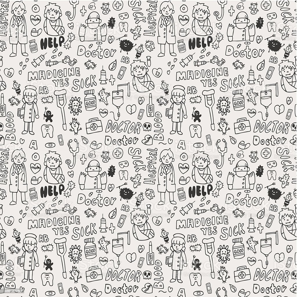doodle doctor element seamless pattern royalty-free stock vector art