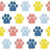 Doodle dog paw seamless pattern background.