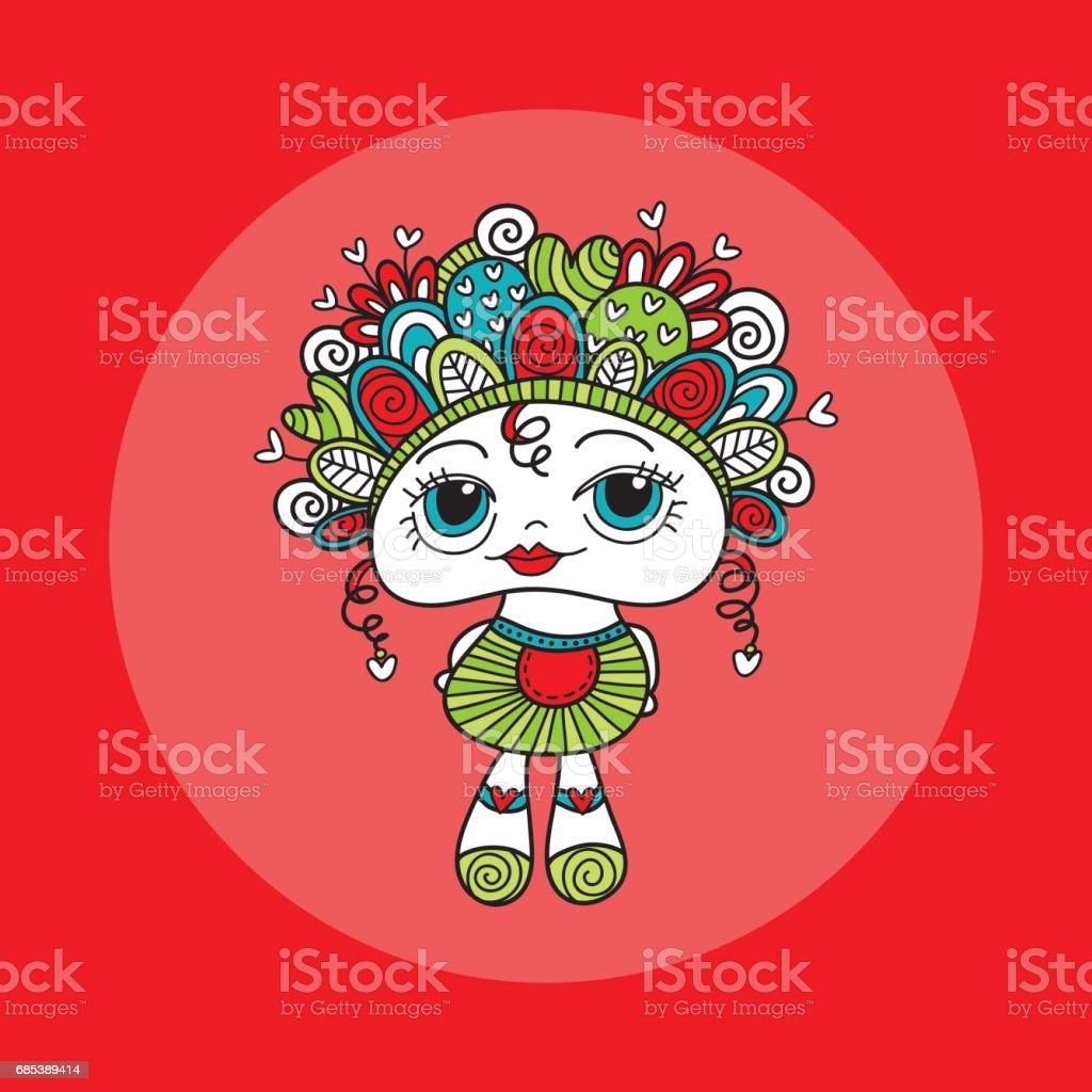 Doodle Doll with Hearts Hand Drawn Doodle Vector Bright doodle doll with hearts hand drawn doodle vector bright - stockowe grafiki wektorowe i więcej obrazów abstrakcja royalty-free