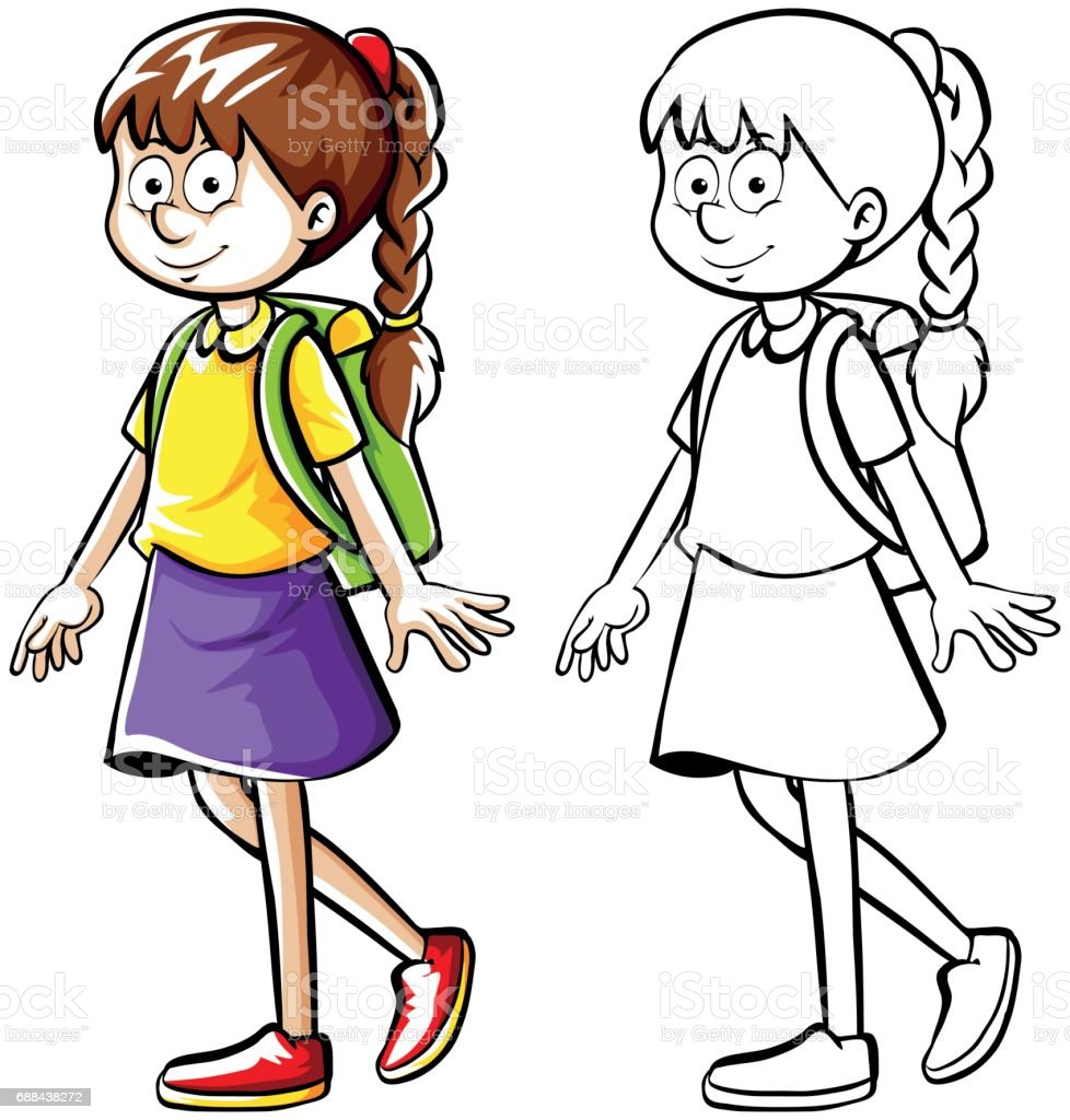 Doodle drafting of girl with backpack vector art illustration