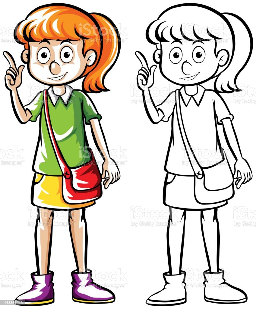Doodle drafting of girl with handbag vector art illustration