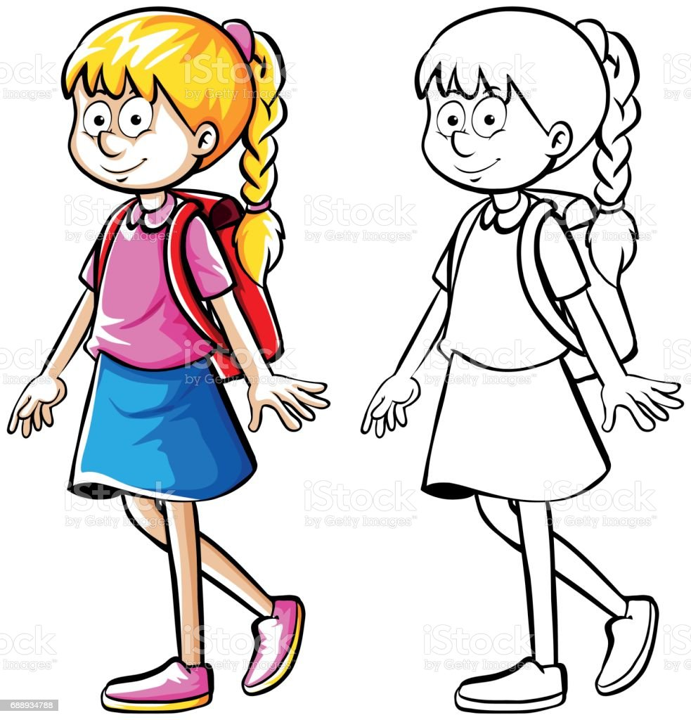 Doodle drafting of schoolgirl with bag vector art illustration