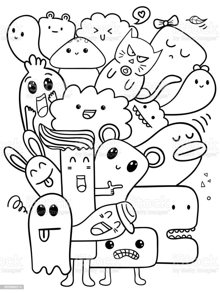 Ilustración de Doodle Dibuja Línea Arte Vector Ilustración ...