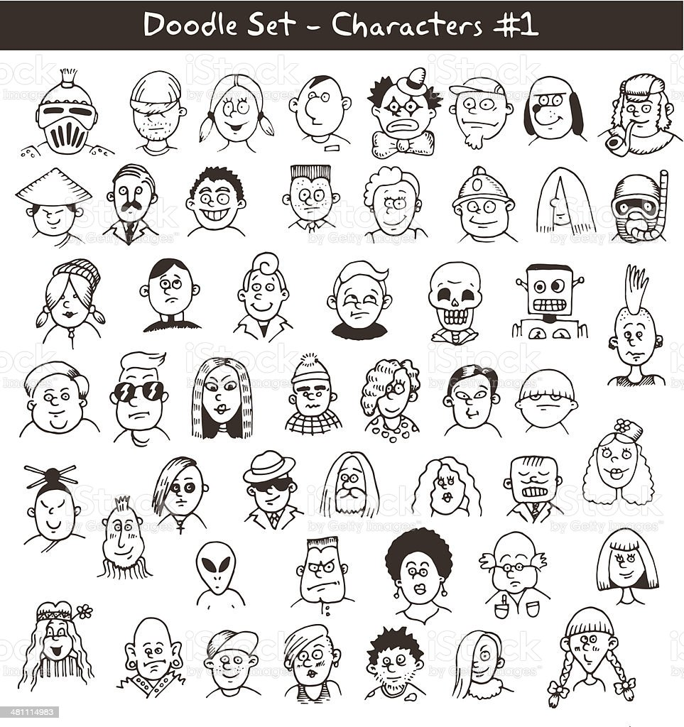 Doodle Drawings of People's Heads vector art illustration